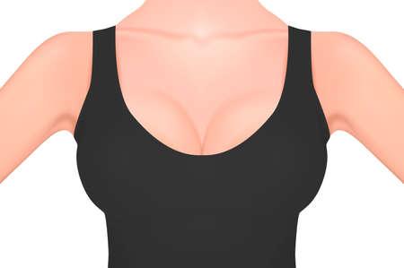 Mooie realistische vrouwelijke borst in een zwart mouwloos onderhemdclose-up dat op wit wordt geïsoleerd. Ontwerpsjabloon. Gezondheid van vrouwen, intieme hygiëne, concept borstkanker bewustzijn. Voorraad vector mockup. EPS10 Stock Illustratie