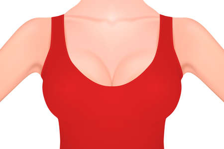 Beautiful realistic female breast in a red tank top close-up isolated on white. Design template. Women health, intimate hygiene, Breast Cancer Awareness concept. Stock vector mockup. EPS10 Stock Vector - 87119270