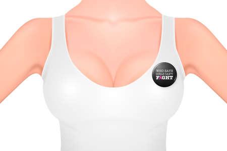 白のタンクトップとピンクリボン - 乳がん啓発のシンボル、ボタン バッジで美しいリアルな女性の胸-クローズ アップ ホワイト バック グラウンド
