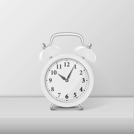 White alarm clock closeup standing on white table. Stock Vector - 87748267