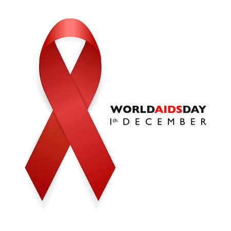 aids awareness ribbon: Banner with Aids Awareness Red Ribbon. Aids Day concept. Design template for websites magazines, infographics, advertising. EPS10 vector illustration.
