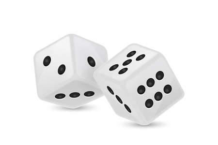 Vector illustration of white realistic game dice icon Vector Illustration