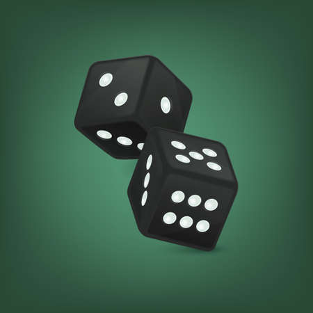 Vector illustration of black realistic game dice icon in flight closeup on green background. Casino gambling design template for app, web, infographics, advertising, mock up etc Illustration