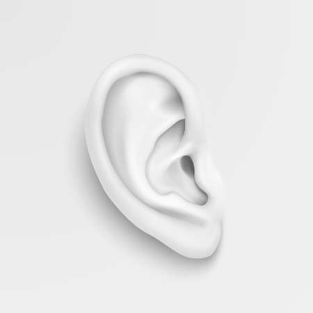 Vector black and white background with realistic human ear closeup. Design template of body part, human organ for web, app, posters, infographics etc Banco de Imagens - 90749988