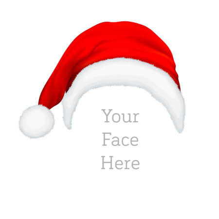 Realistic vector red Santa Claus hat icon isolated on white background. Design template accessory of Christmas and New Year party for app, web etc Çizim