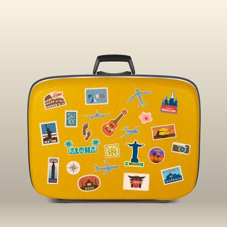 Autocollants de voyage de vecteur, étiquettes avec des pays célèbres, des villes, des monuments et des symboles sur la valise dans un style vintage rétro isolé sur blanc. Comprend l'Italie, la France, la Russie, les États-Unis, l'Angleterre, l'Inde, le Japon, etc. Vecteurs