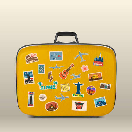 Vector travel stickers, labels with famous countries, cities, monuments and symbols on suitcase in retro vintage style isolated on white. Includes Italy, France, Russia, USA, England, India, Japan etc.