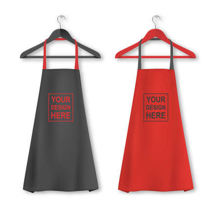Vector cotton kitchen apron icon set with clothes hangers closeup isolated on white background. Black and red colors. Design template, mock up for branding, advertising etc. Cooking or baker concept