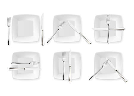 Realistische bestek en tekenen van tabel etiquette, vector iconen geïsoleerd op een witte achtergrond. Set vork, mes en schotelplaat. Ontwerpsjabloon, mockup van tafelgerei. Bovenaanzicht.