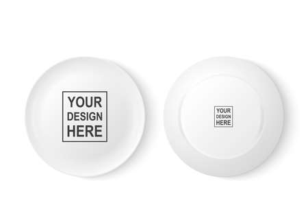 Realistic vector white food dish plate icon set front and back view closeup. Design template, mock up for graphics, printing etc.
