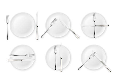 Realistic cutlery and signs of table etiquette, vector icons isolated on white background. Fork, knife and dish plate set. Design template, mock up of tableware.
