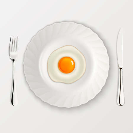 Realistic fried egg icon on a plate with fork and knife. Design template. Vector illustration. Illustration