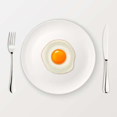 Realistisch vector gebakken ei pictogram op een bord met vork en mes. Ontwerp sjabloon.