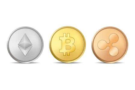 Realistische vector crypto valuta munt pictogramserie. Bitcoin, Etherium, Ripple. Blockchain-technologie. Close-up op witte achtergrond wordt geïsoleerd die.