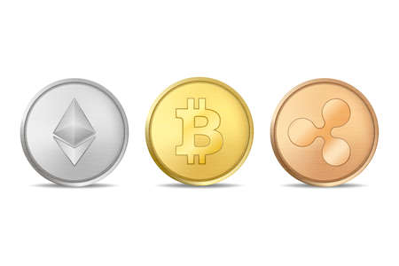 Realistic vector crypto currency coin icon set. Bitcoin, Etherium, Ripple. Blockchain technology. Closeup isolated on white background.