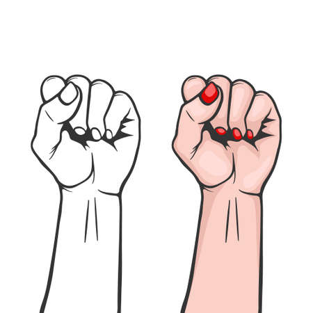 De vuistclose-up van opgeheven die vrouwen op witte achtergrond wordt geïsoleerd. Symbool van eenheid of solidariteit, met onderdrukte mensen en vrouwenrechten. Feminisme, protest, rebel, revolutie of stakingsteken. Sjabloon voor kunstposters, achtergronden, enz. Voorraad vectorillustratie. Vector Illustratie
