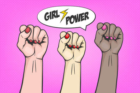 three raised women s fist in pop art comic style symbol unity or solidarity, with oppressed people and women s rights. Placard with feminism concept, protest, rebel, revolution or strike sign. Template for art posters, backgrounds etc