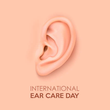 Vector background with realistic human ear closeup. International Ear Care Day. Design template of body part, human organ for web, app, posters, infographics etc.