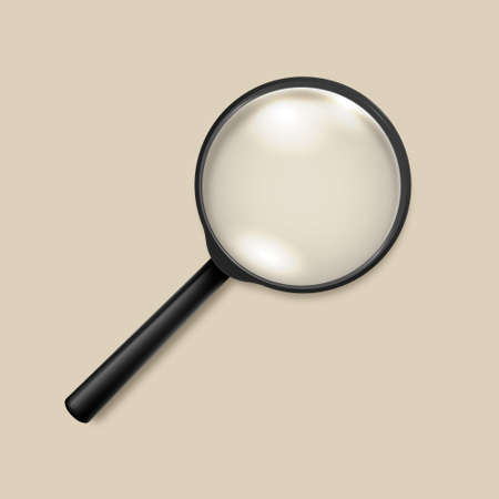 Photo-realistic vector 3d black magnifying glass or Loup icon closeup top view. Design template for graphics