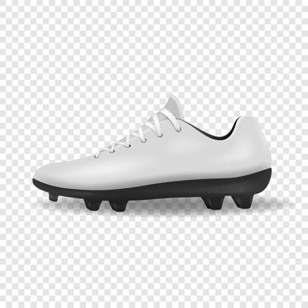 Photo-realistic vector 3d white empty, blank mens football or soccer boots, shoes icon closeup isolated on transparency grid background.
