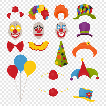 Vector Party Birthday or April Fools Day - photo booth props. Hats, wigs, neckties, clown noses, masks, balloons and cylinder icon set isolated on transparency grid background. Clipart, design templates for graphics.