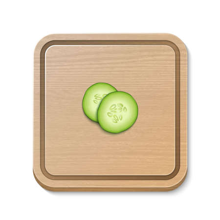 Two realistic vector 3d slice juicy cucumbers icon on a square cutting board. Design template for graphics, closeup isolated on white background, top view.