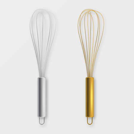 Vector realistic 3D metal wire steel whisk icon set Illustration