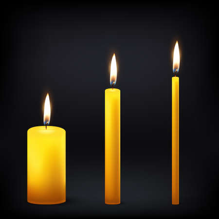 Vector 3d realistic different orange paraffin or wax burning party candle icon set closeup isolated on dark background. Thick, medium and thin size. Design template, clipart for graphics