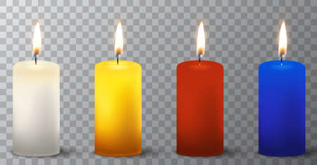 Vector 3d realistic different paraffin or wax burning party candle icon set closeup isolated on transparency grid background. White, orange, red, blue. Design template, clipart for graphics