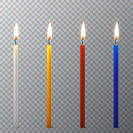 Vector 3d realistic different paraffin or wax burning party candle icon set closeup isolated on transparency grid background. White, orange, red, blue. Design template, clipart for graphics.