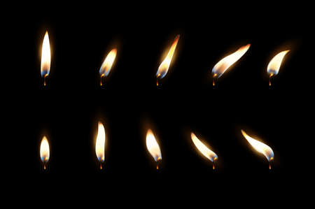 Vector 3d realistic different flame of a candle or match icon set closeup isolated on dark background. Design template, clipart for graphics