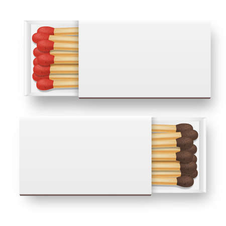Vector 3d realistic opened blank box of matches icon set, closeup isolated on white background, top view, red and brown heads. Design template, clipart for graphics.