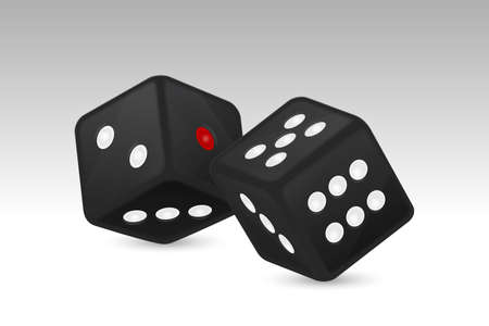 Vector illustration of black realistic game dice icon in flight closeup isolated on white background.