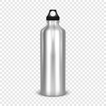 Vector realistic 3d empty glossy metal water bottle with black bung closeup isolated on transparency grid background. Design template of packaging mockup for graphics. Front view