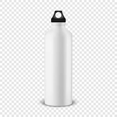 Vector realistic 3d white empty glossy metal water bottle with black bung closeup isolated on transparency grid background. Design template of packaging mockup for graphics. Front view Stock Illustratie