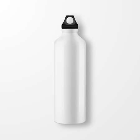 Vector realistic 3d white empty glossy metal water bottle with black bung closeup on white background. Design template of packaging mockup for graphics. Top view Illustration