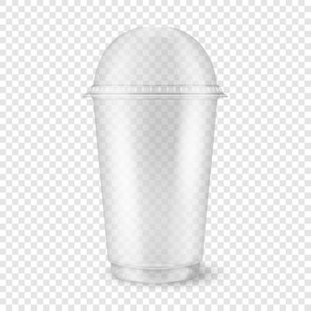 Vector realistic 3d empty clear plastic disposable cup with sphere dome cap closeup isolated on transparency grid background. Design template of packaging mockup for graphics - milkshake, tea, fresh juice, lemonade, smoothie and other drinks. Front view
