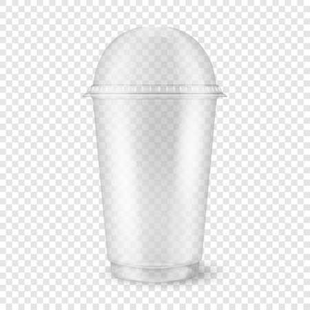 透明グリッドの背景上に分離された球体のドームキャップのクローズアップを持つベクトル現実的な3D空の透明なプラスチックの使い捨てカップ。ミルクセーキ、紅茶、フレッシュジュース、レモネード、スムージー、その他の飲み物 - グラフィックスのためのパッケージングモックアップのデザインテンプレート。フロントビュー