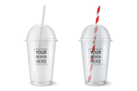 Vector realistic 3d empty clear plastic disposable cup set closeup isolated on transparency grid background. Design template of packaging mockup for graphics - milkshake, tea, fresh juice, lemonade, smoothie and other drinks. Front view Reklamní fotografie