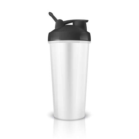 Vector realistic 3d white empty glossy metal or plastic shaker for sports nutrition closeup isolated on white background. Design template of packaging mockup for graphics. Front view