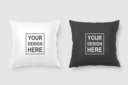 Vector realistic 3d white and black pillow set closeup isolated on white background. Design template for graphics and mockup. Top view