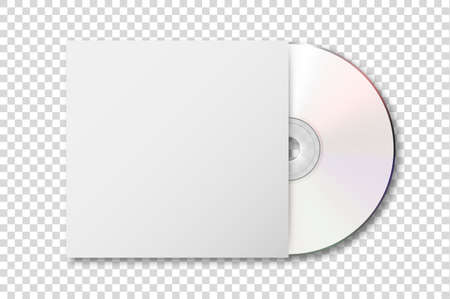 Vector realistic 3d white cd with cover icon isolated on transparency grid background. Design template of packaging mockup for graphics. Top view Vektorové ilustrace