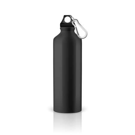 Vector realistic 3d black empty glossy metal water bottle with black bung closeup isolated on white background. Design template of packaging mockup for graphics. Front view
