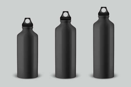 Vector realistic 3d different size - small, medium, large - black empty glossy metal water bottle with black bung icon set closeup isolated on white background. Design template of packaging mockup for graphics. Front view