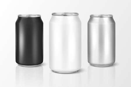 Vector realistic 3d empty glossy metal white, black and silver aluminium beer pack or can set visual 330ml. Stock Illustratie