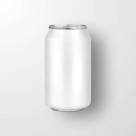 Vector realistic 3d empty glossy metal white aluminium beer pack or can visual 330ml. Stock Illustratie