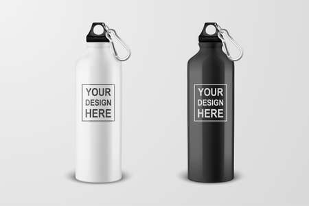 Vector realistic 3d white and black empty glossy metal water bottle with black bung icon set closeup on white background. Design template of packaging mockup for graphics. Front view.