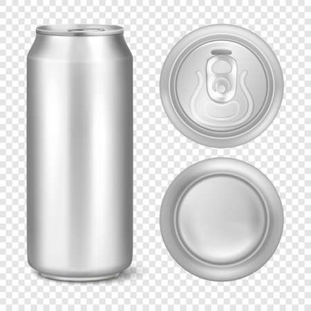 Vector realistic 3d empty glossy metal silver aluminium beer pack or can visual 500ml. Can be used for lager, alcohol, soft drink, soda, fizzy pop, lemonade, cola, energy drink, juice, water etc. Icon set closeup isolated on transparency grid background. Design template of packaging mockup for graphics. Front, top and bottom view