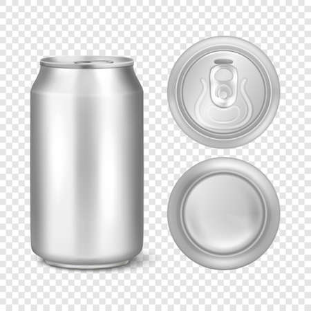 Vector realistic 3d empty glossy metal silver aluminium beer pack or can visual 330ml. Can be used for lager, alcohol, soft drink, soda, fizzy pop, lemonade, cola, energy drink, juice, water etc. Icon set closeup isolated on transparency grid background. Design template of packaging mockup for graphics. Front, top and bottom view.