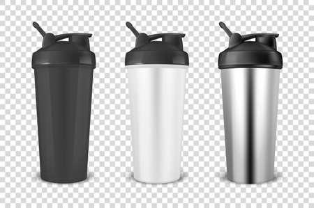 Vektor realistische 3d schwarz, weiß und silber leer glänzenden Metallschüttler für Sporternährungssymbol Set Nahaufnahme auf Transparenz Gitter Hintergrund. Entwurfsvorlage des Verpackungsmodells für Grafiken. Vorderansicht.